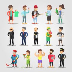 Cartoon People Professions Set with Musician, Gardener, Fashion Designer, Teacher, Florist. Vector illustration