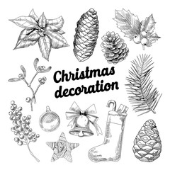 Merry Christmas Hand Drawn Decoration Doodle with Fir Branches, Sock with Candies and Cones Outlined. Vector illustration