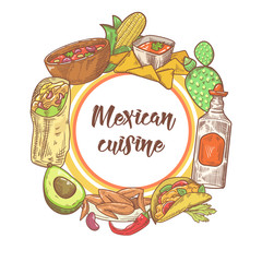 Mexican Food Hand Drawn Doodle. Mexico Traditional Cuisine Background. Vector illustration