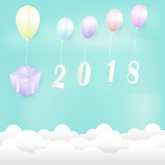 Balloons with Gift box Paper art illustration. 2018 Christmas season Paper cut style