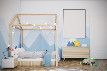 Baby boy s room with a poster