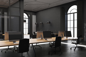 Black brick open space office