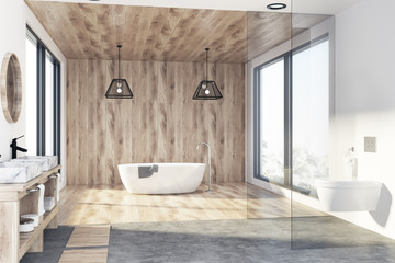 Wooden bathroom, tub and sink