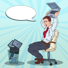 Pop Art Annoyed Businessman Throws Out Laptop. Stress at Office Work. Vector illustration