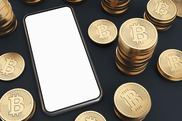 Blank screen smartphone, bitcoins, top view