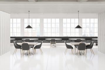 White and white wooden loft cafe