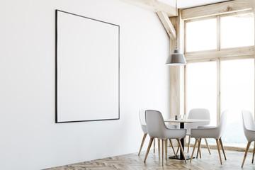 White cafe interior, loft windows, poster, corner