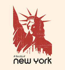 T-shirt and apparel vector design with the Statue of Liberty and New York skyline, print, typography, poster, emblem.