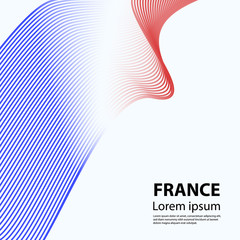 French flag abstract ribbon. Vector illustration