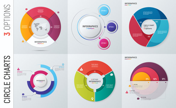 Collection of vector circle chart infographic templates for presentations, advertising, layouts, annual reports. 3 options, steps, parts.