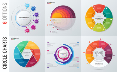 Collection of vector circle chart infographic templates for presentations, advertising, layouts, annual reports. 6 options, steps, parts.