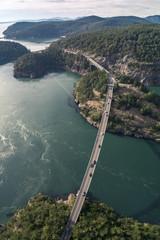 Overhead Aerial of Deception Pass Bridge and Coastal Washington Islands