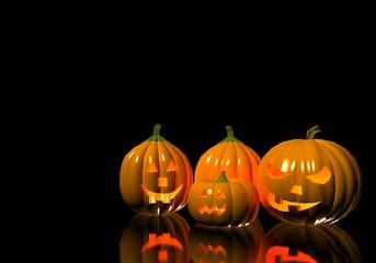 jack o lantern pumpkins in the black background 3d illustration