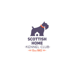 Scottish Terrier Club logo. Dog Kennel Emblem. Badge on the Scottish cell.