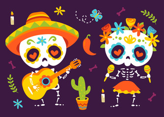 vector cartoon style autumn day of dead  Día de Muertos set