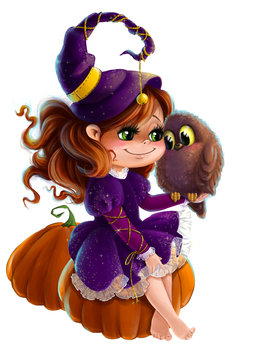 Cute little girl in Halloween witch costume with pumpkin and owl clip art cartoon style transparent background
