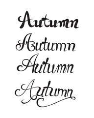 Autumn typographic illustration of handwritten. Hand Lettering print. Handmade vector calligraphy collection