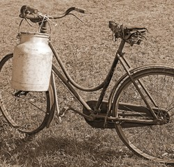 old bicycle milkman with aluminum bin for transporting the milk