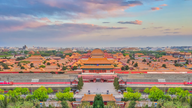 Ariel view of Beijing city skyline with the Forbidden city chinese palace in Beijing, China