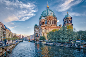 Dramatic sky with Berlin Cathedral in Berlin, Germany