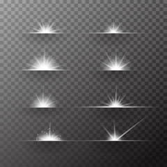 Set of white effect sunrise and sunset in the sky. glowing light burst explosion with transparent. Vector illustration for cool effect decoration with ray sparkles. Bright star. Transparent shine