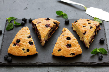 scones with oatmeal, blueberries and coconut.