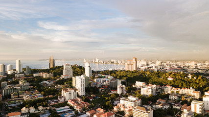 Aerial landscape view of Pattaya city in Thaland in the morning