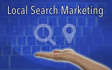 "Hand presenting ""Local Search Marketin""  Symbol on Blue Background"