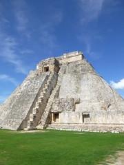 Pyramid of the Mayan in Uxmal in yucatan, Mexico