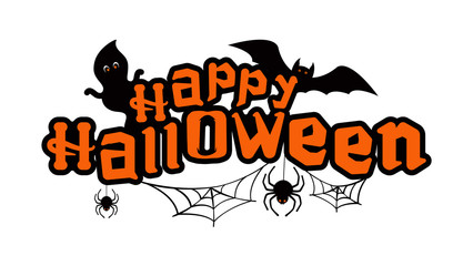 Happy halloween text with ghosts, bat and spiders.