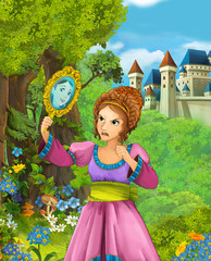 Cartoon scene of beautiful princess in the forest looking at the mirror near castle in the background - illustration for children