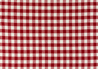 checkered tablecloth background in red and white