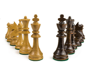 chess pieces in white and black