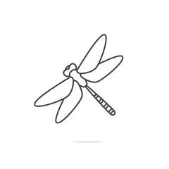 Dragonfly line icon vector