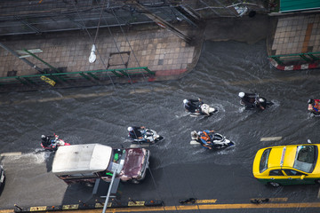 14 October, 2017: Flood due to heavy rain at Asok  sukumbit 21 load  Bangkok Thailand