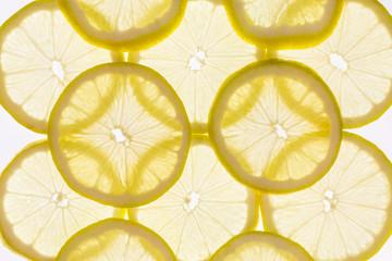 background of backlit lemon slices