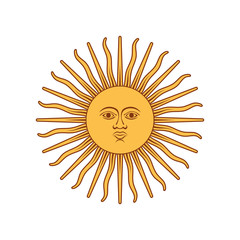Argentina Sun Of May. Coat of arms of Argentina. Coat of arms. Vector illustration.