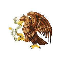 Mexican eagle. Coat of arms of Mexico. Coat of arms. Vector illustration.