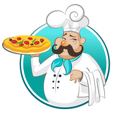 Wall Mural - cook pizza. Chef.
