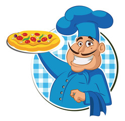 Wall Mural - Cook pizza. Chef Isolated on a white background