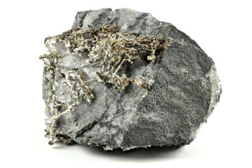 native silver from Kongsberg/ Norway isolated on white background