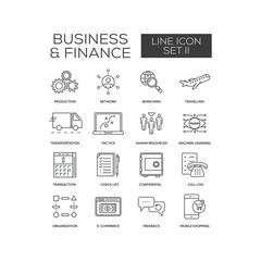 Business Finance Line Icon Set