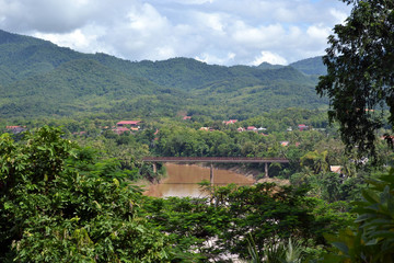 The view of Luang Prabang town in Laos from the hill