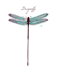Watercolor drawing dragonfly. Vector greeting background with beautiful watercolor dragonfly. Abstract Paint Decoration. Hand drawn brush strokes. Vector Illustration.