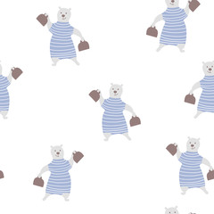 Seamless pattern with cute bear. Circus vector childish background.