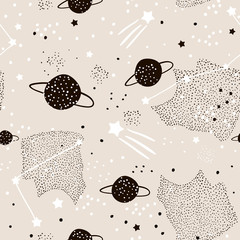 Seamless pattern with stars, constellations, planets and hand drawn elements. Childish texture. Great for fabric, textile Vector Illustration