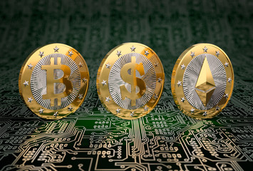 Three golden coins - Bitcoin, Dollar and Ethereum - 3D Rendering