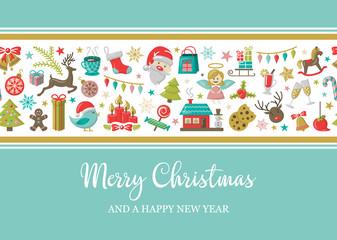 Wall Mural - merry christmas card