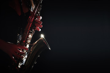 Poster Music Saxophone Player Saxophonist hands playing jazz