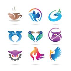 Set of bird or birds Logo Vector - Pets Logo
